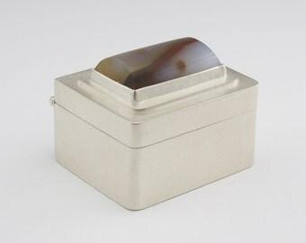 Sterling Silver Box with Polka Dot Agate - Presentation Box - Artisan Pill Box - Hinged Box - Treasure Box - Pill Box - Ying Yang Agate
