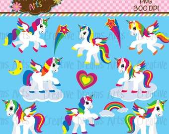 40% Off! Rainbow Unicorn Pegasus Digital Clip Art Instant Download