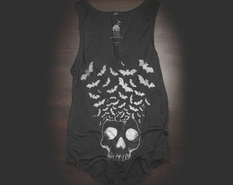 V Neck Tank Urban Skull W/ Bats Flying in Black