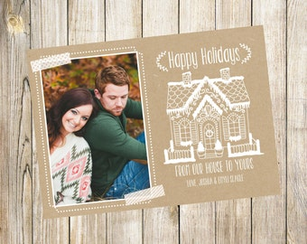 Kraft Paper Gingerbread House Christmas Card