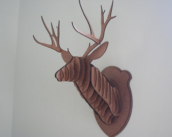 Large Wood Deer Head Wall Trophy