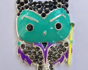 50mm Maleficent Sleeping Beauty Witch Rhinestone Pendant Chunky Necklace Beads
