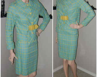 60s Mod Turquoise Checked Suit Vintage Checkered 2 Pc Suit, Plaid Mid Century 1960s Fashion Mad Men Ladies Office Wear Skirt Jacket XS Small