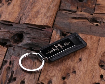 Personalized Leather Key Chain Monogrammed Groomsmen, Bridesmaid, Father's Day, Coworker Men's Gift