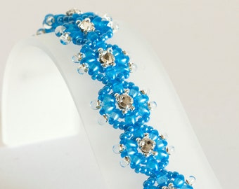 Seed Bead Bracelet in Sea Blue Twin Beads, Crystal Montees, Clear Drop Beads, Blue & Silver Seeds - Twin Bead Bracelet - Montee Bracelet