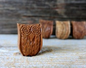 wooden owl knob // dresser drawer knob // wood furniture knob