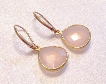 Rose Quartz Earrings /Pink & Gold Vermeil Gemstone 14KT Lever Back Earrings/Pink Chalcedony Pink Opal Bridesmaid Earrings
