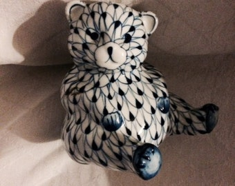 Blue and White Bear Andrea by Sadek similiar to Herend