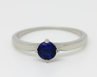 ON SALE! Titanium and Genuine Blue sapphire solitaire ring - engagement ring - wedding ring