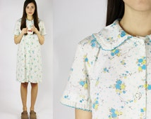 70s nightie blue pastel floral night gown COZY WEAR house coat peter pan collar pajamas MEDIUM M