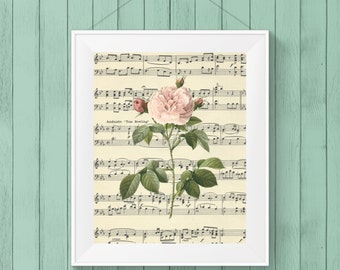 botanical print, printable artwork, pink rose digital print, printable wall art, botanical rose art, wall decor 8 x 10