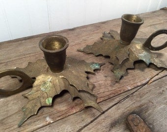 Leaf Brass Candle Holders