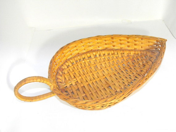 Woven Leaves Wall Decor : Vintage woven leaf shape baskets wall decor by