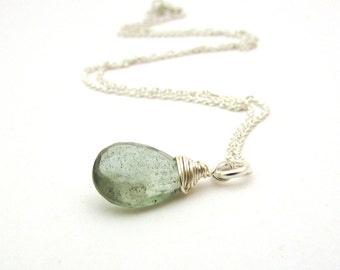 Moss aquamarine necklace, March birthstone,  aquamarine pendant, sterling silver wire wrapped necklace, moss aquamarine jewelry, blue green