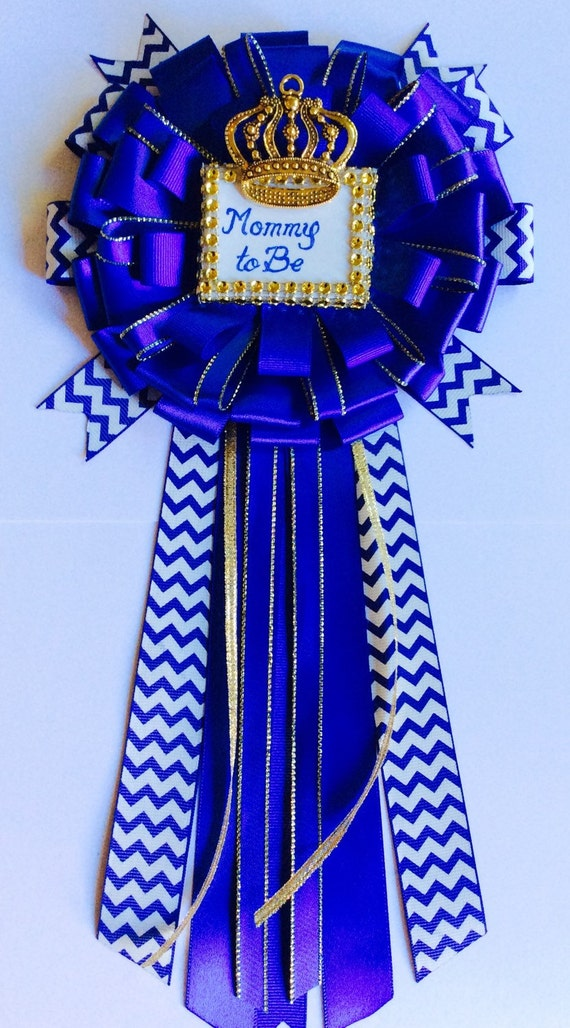 baby shower mommy to be pin little prince corsage royal blue baby