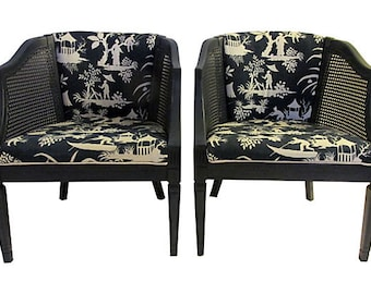Custom Navy Barrel Chairs, Pair, Now on Sale, Were 695.00, Now 395.00 For The Pair!