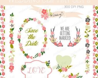 WEDDING INVITATION clip art, floral wedding invite Clip art wedding, Wedding clipart Diy Wedding Invite, Flower clip art Floral frame Banner