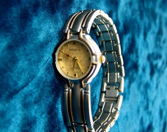 Vtg Ronica Quartz Women's Wrist watch, Two Tone Stainless Steel/GP, Runs E3278