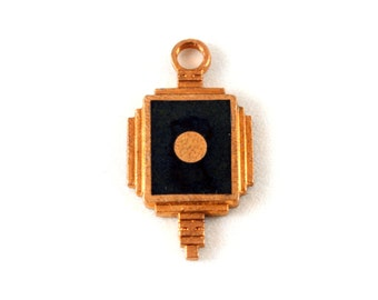 3x Vintage Copper Art Deco Charm w/ Black Enamel & Copper Circle Inlay  - M077