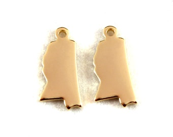 2x Gold Plated Blank Mississippi State Charms - M115-MS