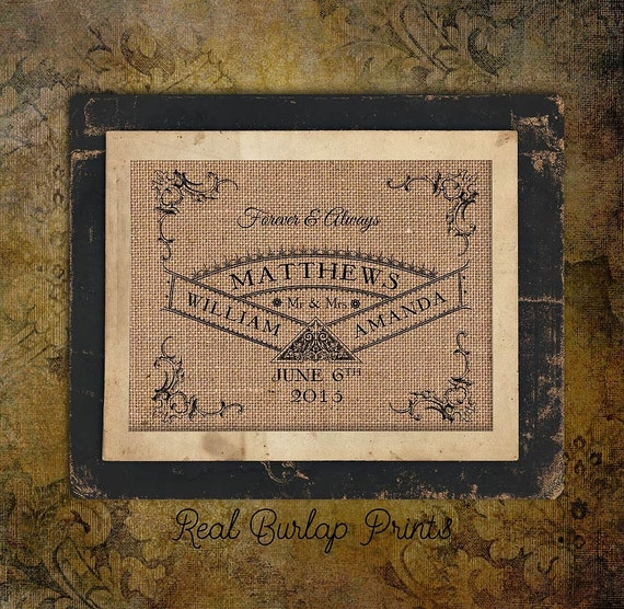 Wedding Day | Bride and Groom | 8x10 | Date | Burlap Print | Personalized | #0084
