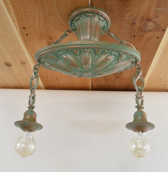 Vintage And Industrial Lighting From Etsy: Antique Two Bulb Ceiling Light Fixture Antique Lighting