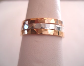 14 K. Solid Gold 2 mm. Wide(width) Hammered Band or Stacking Ring Hand Made in U.S.