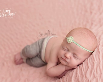 Mint Flower Rhinestone Headband, Petite Headband, Simple Headband, Mint Headband, Newborn Photo Prop, Newborn Headband