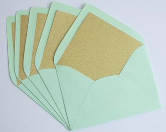 Beautiful Glitter Lined A7 Envelopes: Set of 10. Pick Your Envelope Color!