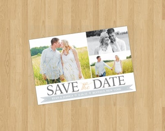 Printable Save the Date (3 photos) - Gray and Coral