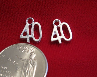 "10pc ""40"" charms in silver style (BC492)"