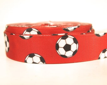 "5 yards of 7/8 inch ""soccer"" grosgrain ribbon"