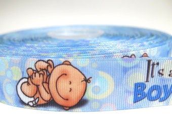 "5 yards of 1 inch ""It's a boy"" grosgrain ribbon"