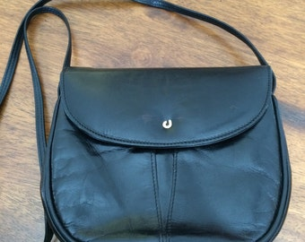 Vintage Charles Jourdan Elegant Black Leather Crossbody Handbag