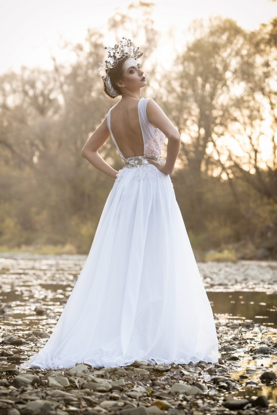 White boho chiffon dress