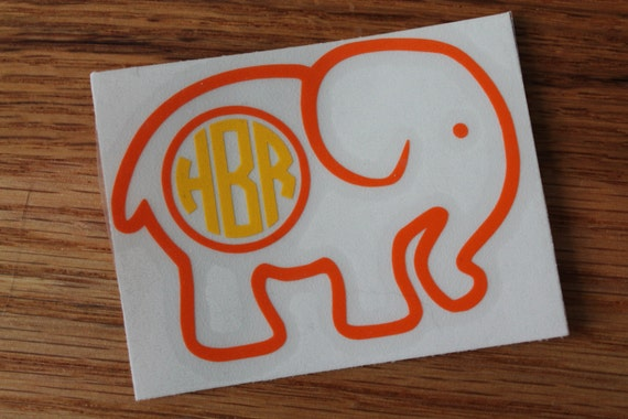 Elephant Outline Monogram Car Decal From PawsandPotions On Etsy Studio - Elephant monogram car decal