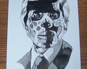 Alien from the movie They Live ink drawing 6x9