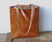 Large Brown Leather tote bag. Handmade.
