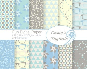 Fun Spring Digital Paper, Geometric Designs Scrapbook Paper Pack, pinwheel, sunglasses, triangle, Instant Download, Commercial Use, 12 x 12
