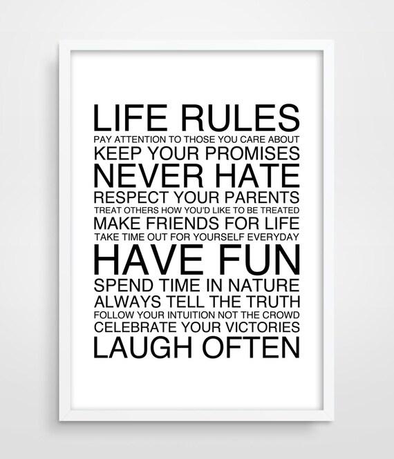 LIFE Rules Poster Family Art Print Office Decor