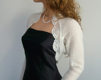 Made to order. Hand knitted Wedding Bridal Kid Mohair Ivory colour Shrug Bolero, long sleeves. Wedding accessories