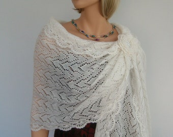 Knit to order. Hand Knit Ivory or White  Colour Mohair Bridal Wedding Shawl Wrap, Bridal - Bridesmaid  Accessories, Lace Knitted Shawl Wrap