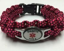 Diabetic Medical Alert Bracelets - Pink Diamond
