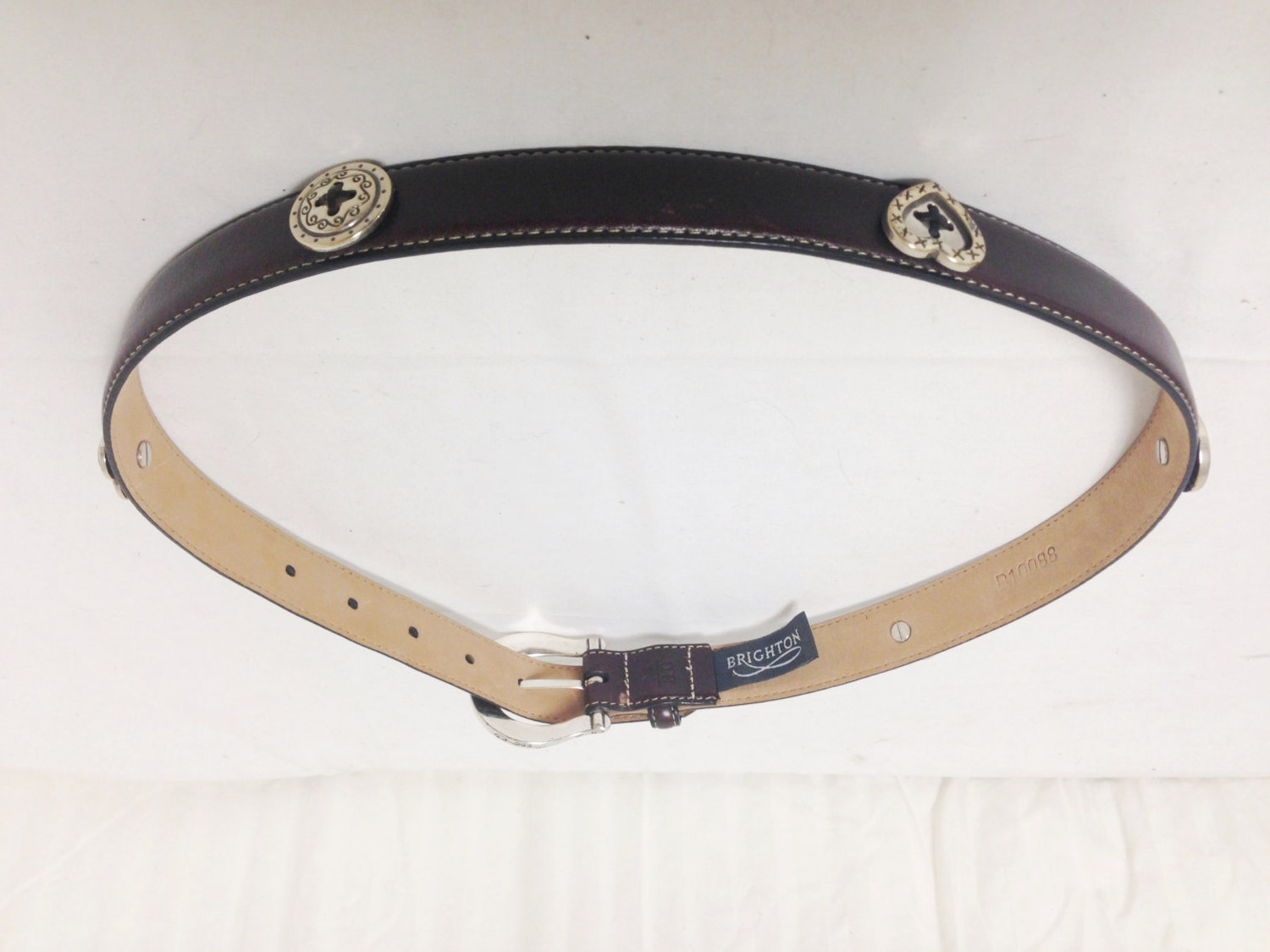 brighton leather belt silver tone hearts brown belt buckle