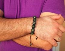 Serpentine Men's bracelet gemstone, Man Bracelet. Inner peace, Attract money, Emotional cleansing Stone Healing crystal