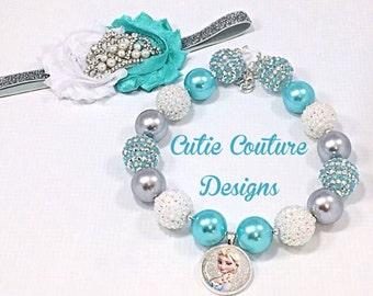 Frozen Necklace, Chunky Necklace, Frozen Necklace, Elsa Necklace, Bubblegum Necklace, Birthday Necklace, Frozen birthday Necklace
