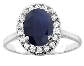 10K Gold Natural Blue Sapphire Halo Ring Oval 9x7mm Diamond Accent, Sizes 4 - 10