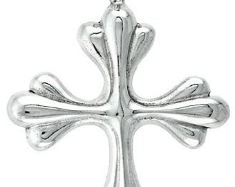 Sterling Silver Patonce Cross Pendant, 1 5/16 inch