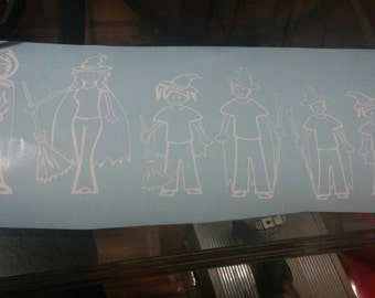 Witchy-Pagan-New Age Stick figure family of four Decal!