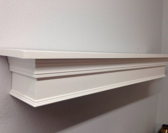 "Floating Mantle Shelf in White, Mantle Shelf, Fireplace Mantle, Floating Shelf, 44"" Mantle"